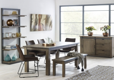Mark Webster Barnyard Reclaimed Wood Rectangular Dining Set with 4 Faux Leather Scoop Chairs and Bench - 180cm