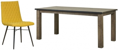 Mark Webster Barnyard Reclaimed Wood Rectangular Dining Set with 6 Yellow Fabric Chairs - 180cm