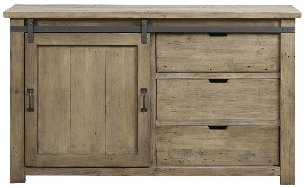 Mark Webster Barnyard Reclaimed Wood 1 Door 3 Drawer Wide Sideboard