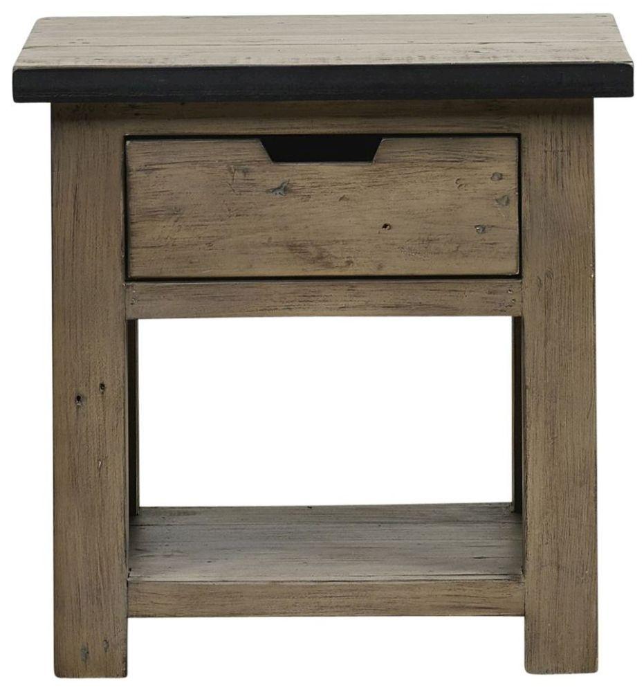Mark Webster Barnyard Reclaimed Wood 1 Drawer Lamp Table