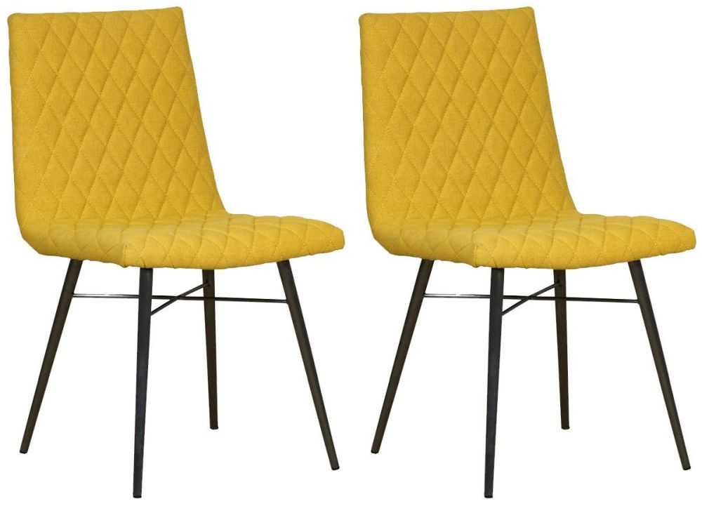 Mark Webster Yellow Fabric Dining Chair with Black Powder Coated Legs (Pair)