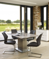 Mark Webster Bergamo Marble Square Extending Dining Table and 4 Antique Grey Faux Leather Chairs