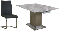 Mark Webster Bergamo Marble Square Extending Dining Table and 4 Milano Grey Faux Leather Chairs