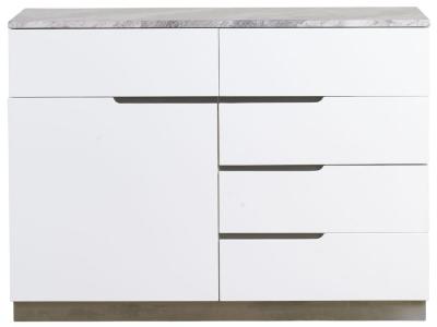 Mark Webster Bergamo Marble Top 1 Door 5 Drawer Narrow Sideboard