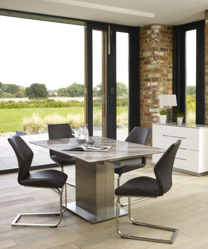 Mark Webster Bergamo Marble Top Square Extending Dining Set with 4 Antique Grey Faux Leather Chairs - 100cm-148cm
