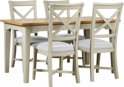 Mark Webster Bordeaux Extending Dining Table and 4 Chairs - Oak and Grey