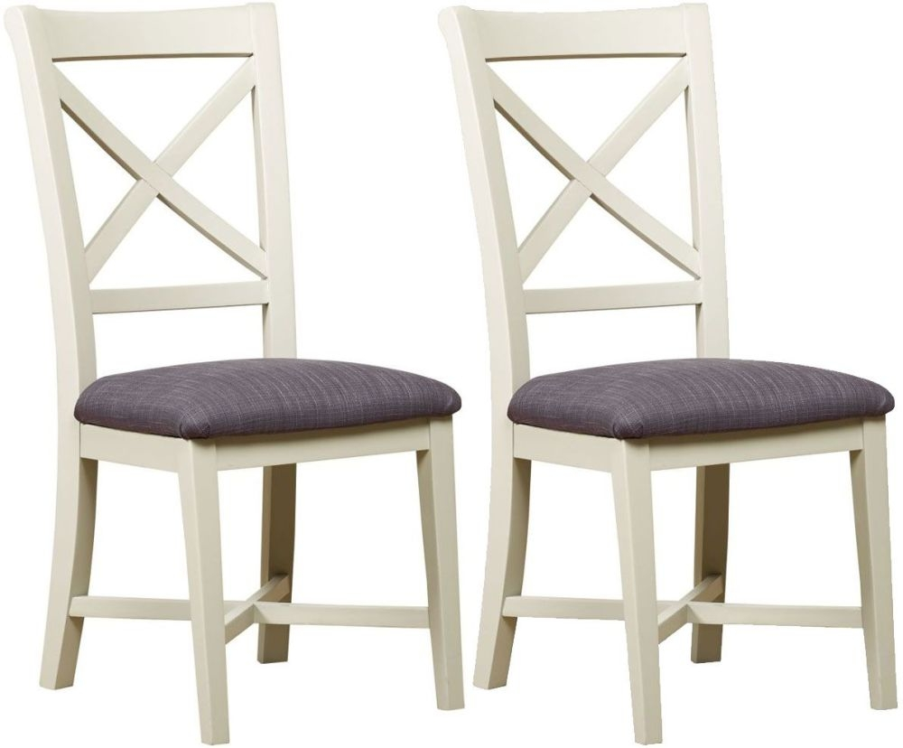 Mark Webster Bordeaux Painted Cross Back Dining Chair with Fabric Seat Pad (Pair)