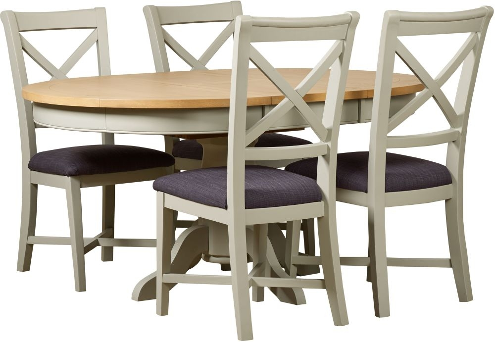 Mark Webster Bordeaux Painted Pedestal Dining Set   Round Extending With 4 Cross  Back Chairs With
