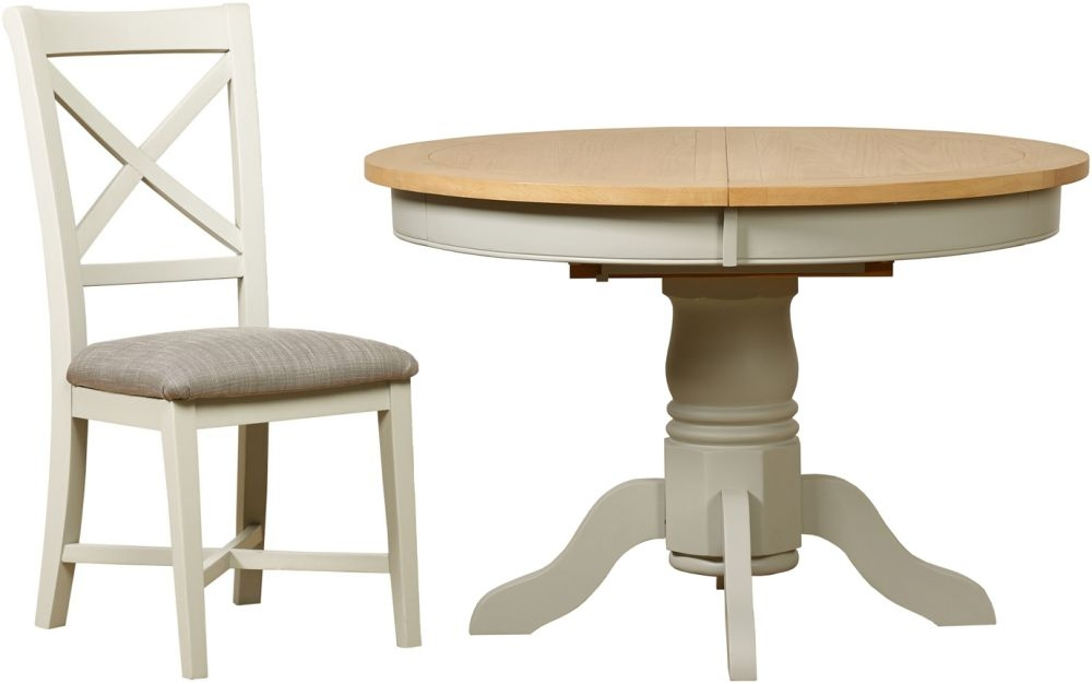 Mark Webster Bordeaux Round Extending Dining Table and 4 Chairs - Oak and Grey