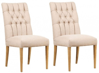 Mark Webster Brunel Linen Button Back Dining Chair (Pair)
