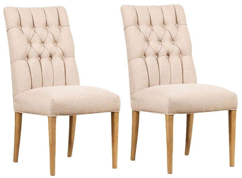 Mark Webster Brunel Linen Button Back Dining Chair (Pair)