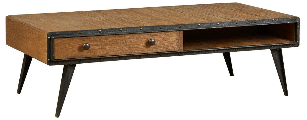 Mark Webster Brunel Oak 2 Drawer Coffee Table with Angled Leg