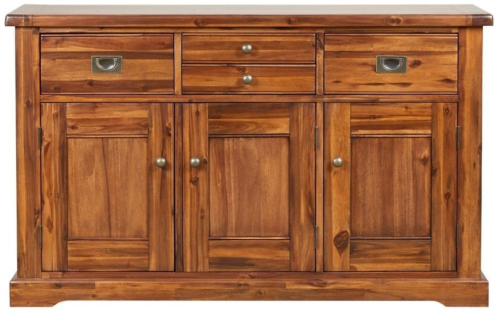 Mark Webster Chaucer Acacia 3 Door 4 Drawer Wide Sideboard