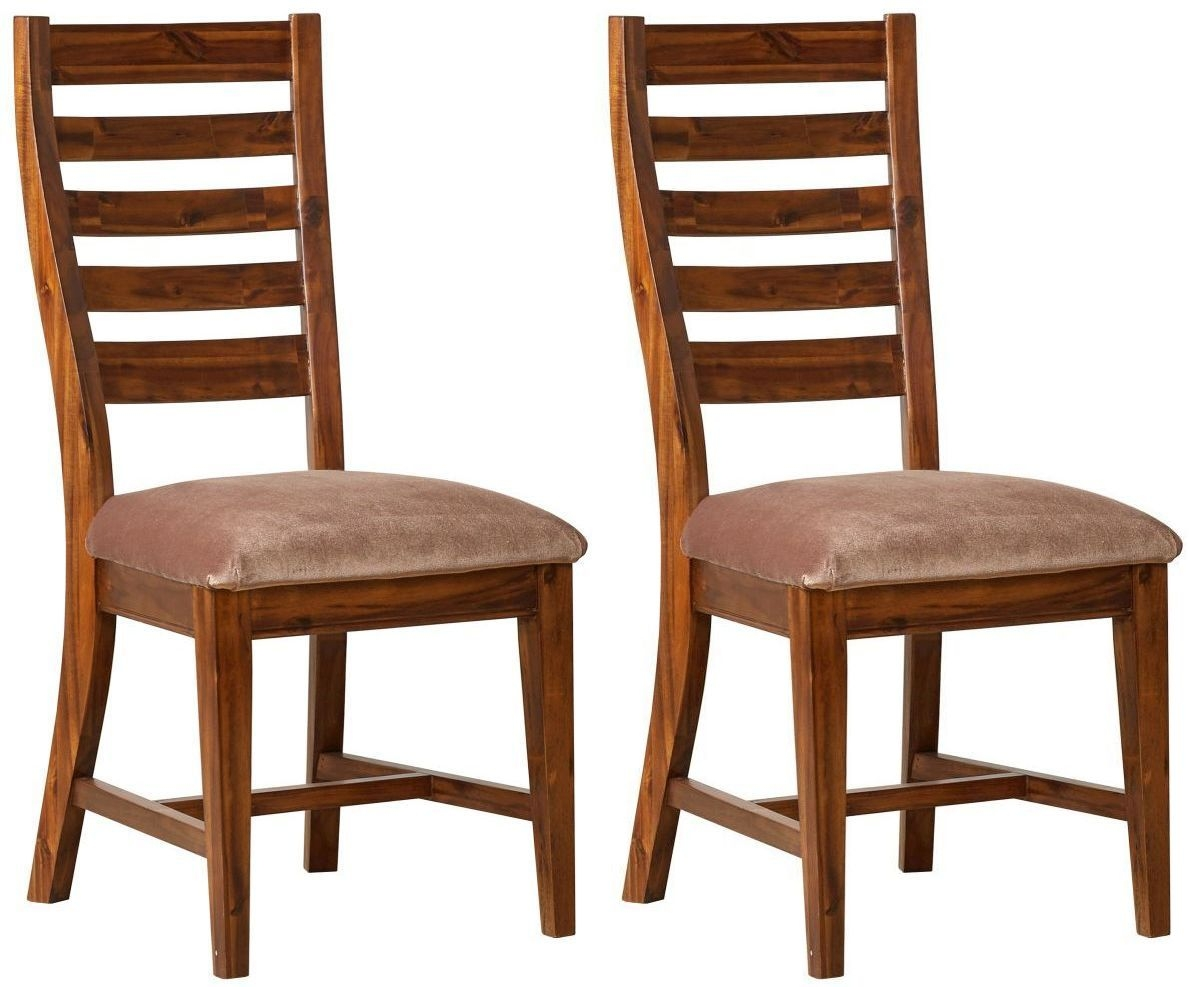 Mark Webster Chaucer Acacia Ladder Back Dining Chair with Brown Faux Leather Seat Pad (Pair)