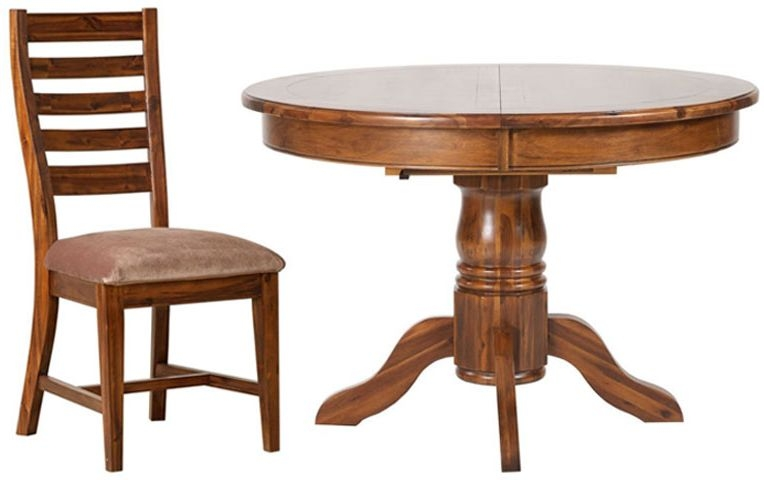 Mark Webster Chaucer Acacia Round Extending Dining Set with 2 Ladder Back Chairs - 113cm-153cm