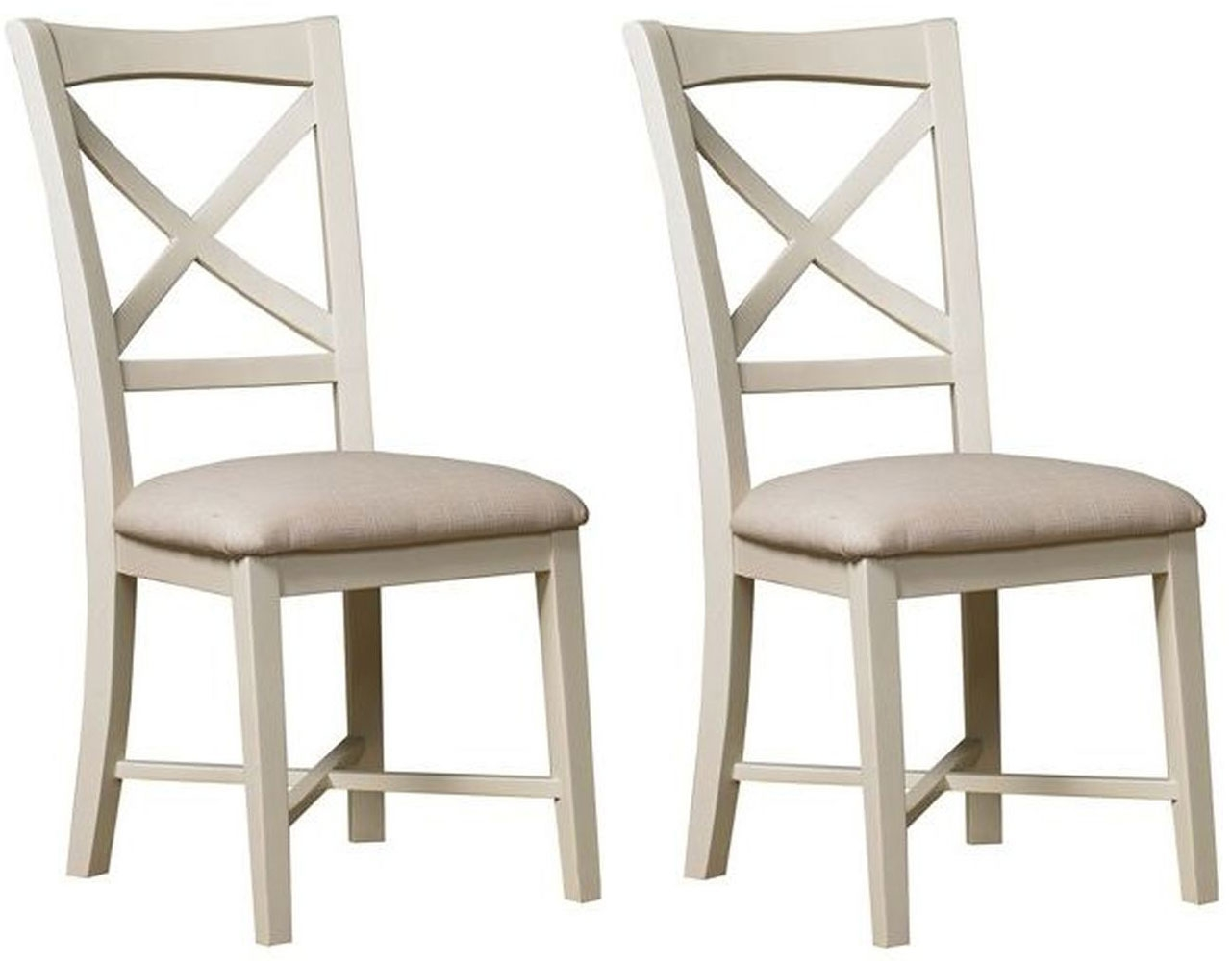 Mark Webster Chiswick Painted Dining Chair - Single Cross Back Fabric Seat (Pair)