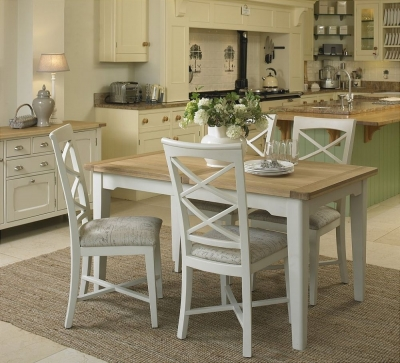 Clearance Mark Webster Padstow Off White Dining Set - Small Extending with 4 Plain Olive Seat Pad Cross Back Chairs