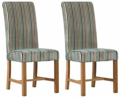 Mark Webster Aqua Deluxe Stripe Dining Chair - FR17364 (Pair)