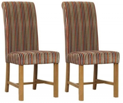 Mark Webster Copper Deluxe Stripe Dining Chair - FR17362 (Pair)