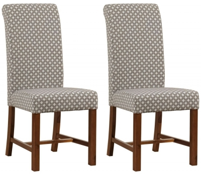 Mark Webster Milk Chocolate Fabric Dining Chair - FR 18731 (Pair)