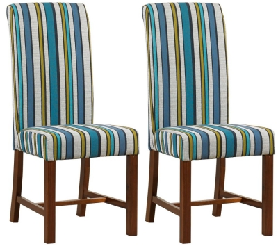 Mark Webster Teal Fabric Dining Chair - FR18710 (Pair)