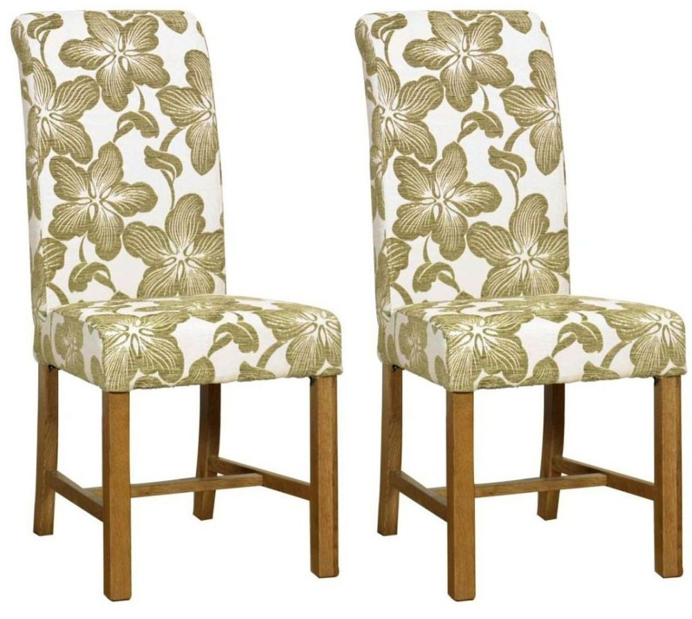 Mark Webster Green Fabric Dining Chair - FR15951 (Pair)