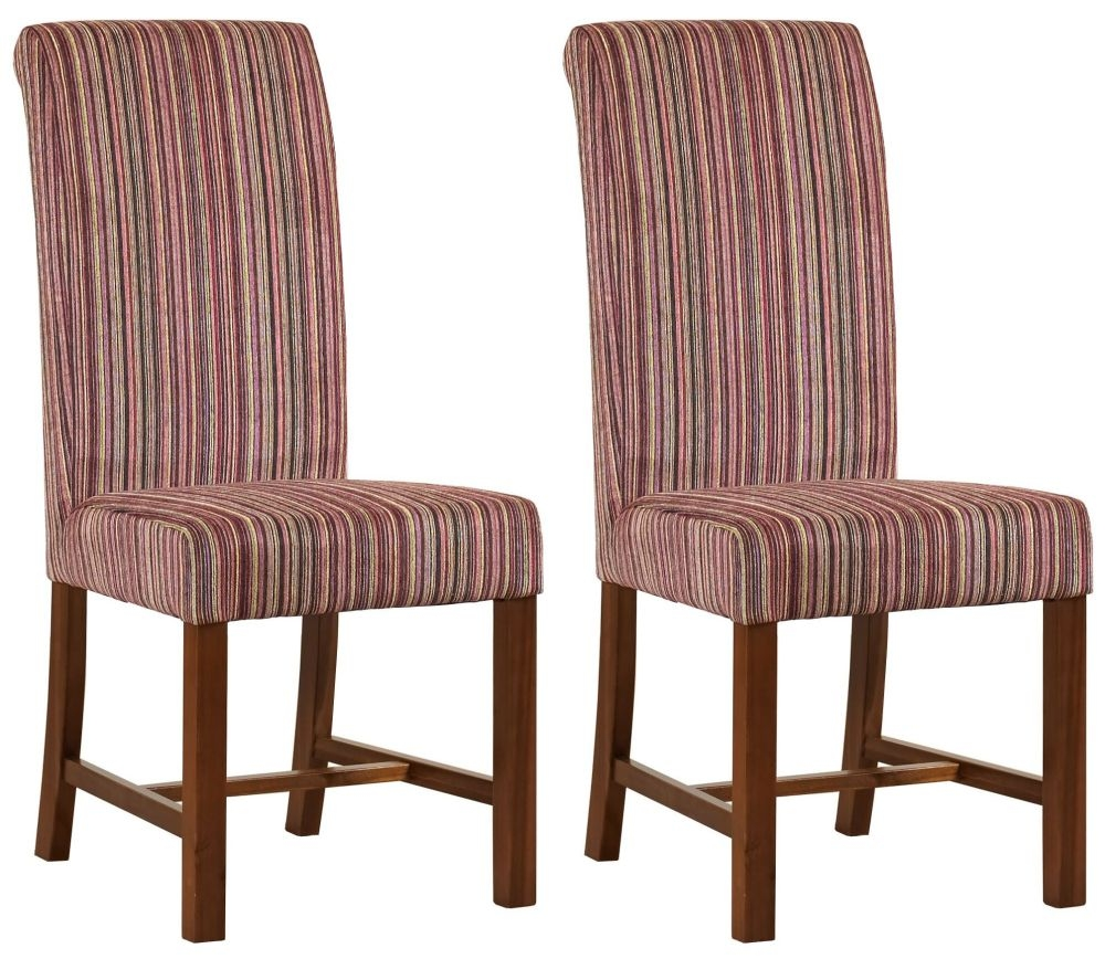 Mark Webster Kingfisher Red and Lime Fabric Dining Chair - FR 18942 (Pair)
