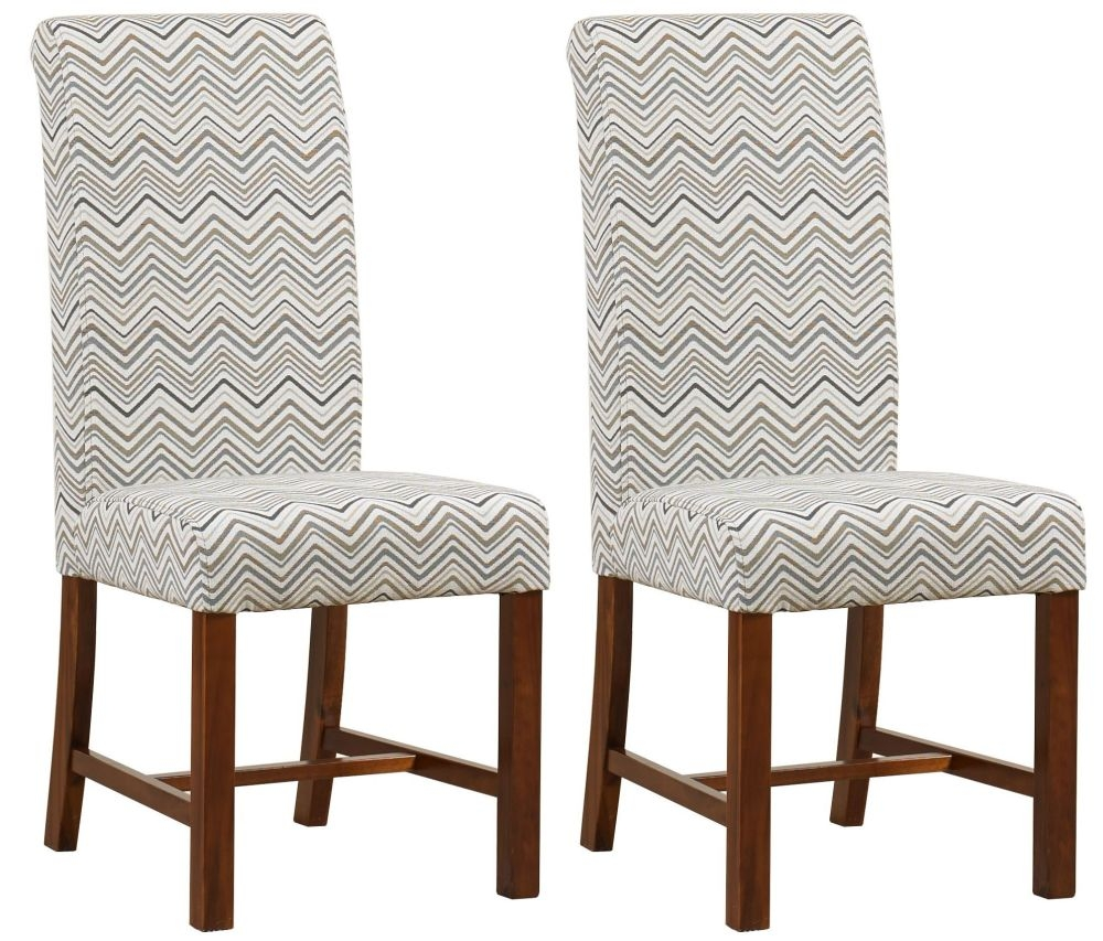 Mark Webster Mink Zig Zag Fabric Dining Chair - FR 19112 (Pair)
