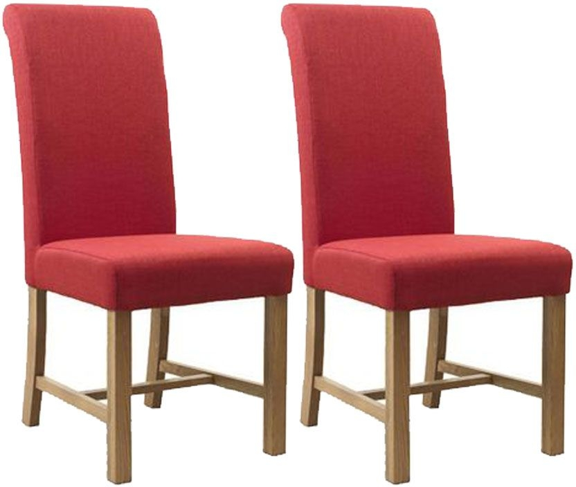 Mark Webster Postbox Red Fabric Dining Chair - FR17420 (Pair)