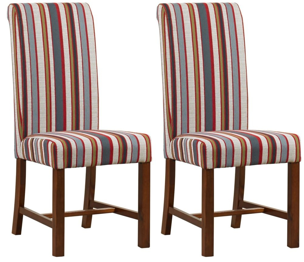 Mark Webster Red Stripe Fabric Dining Chair - FR 18711 (Pair)
