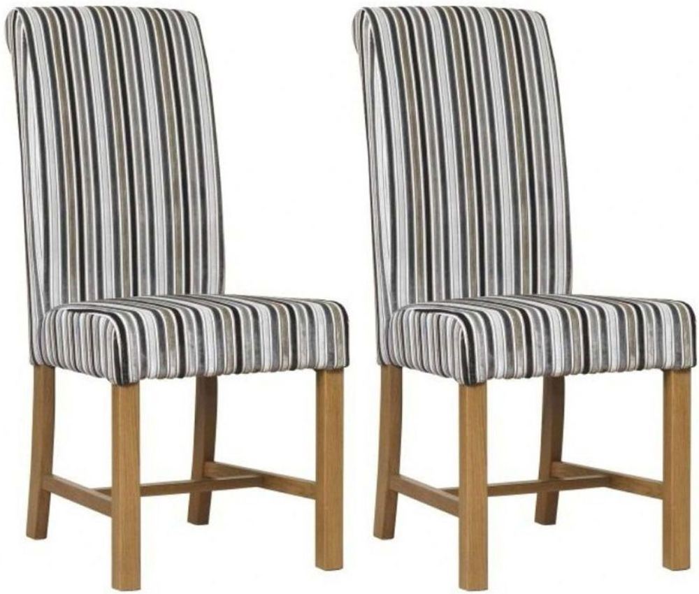 Mark Webster Silver Deluxe Stripe Dining Chair - FR17363 (Pair)