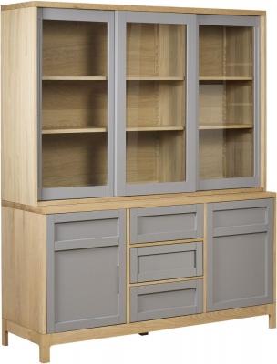 Mark Webster Fusion Oak Sideboard with Glazed Hutch - Large 3 Door 3 Drawer