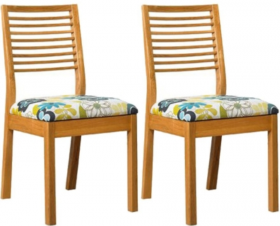 Mark Webster Geo Oak Dining Chair with Fabric Seat Pad (Pair)