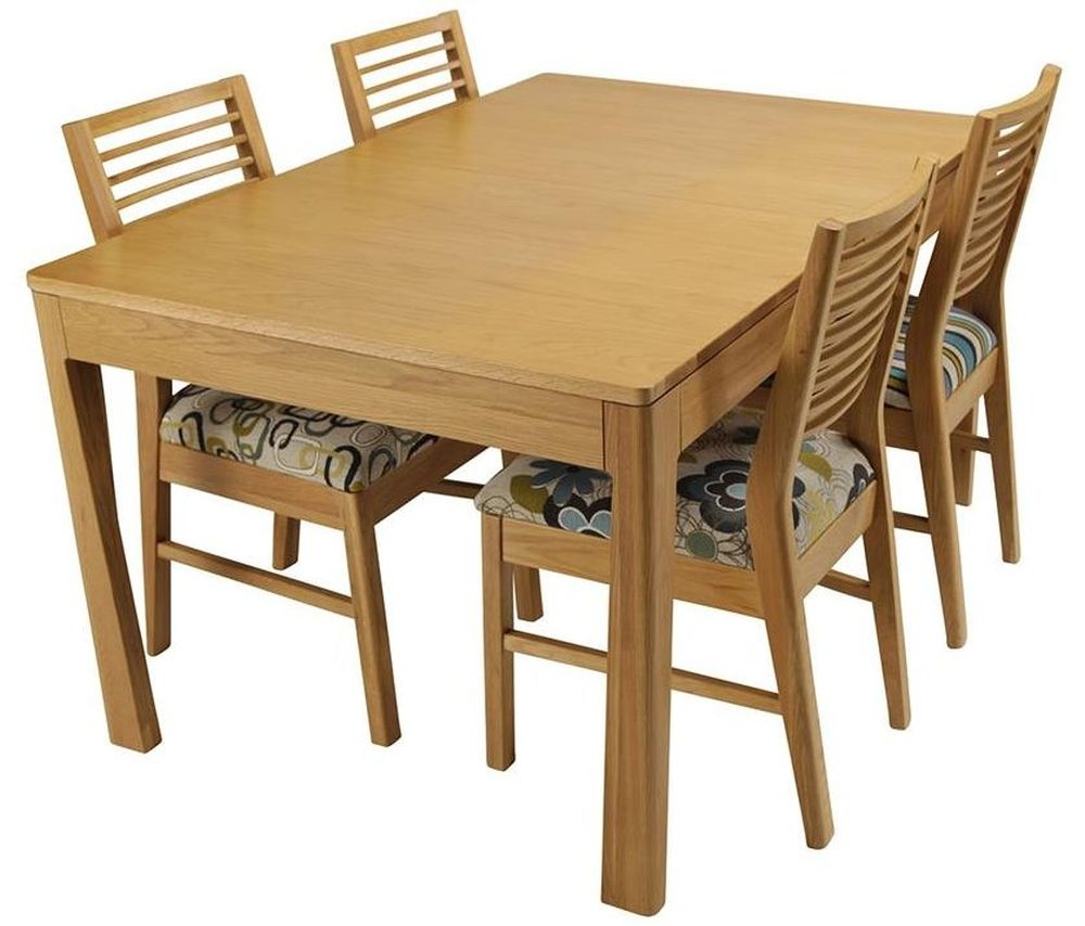 Mark Webster Geo Oak Dining Set - Small Extending with 4 Fabric Seat Chairs