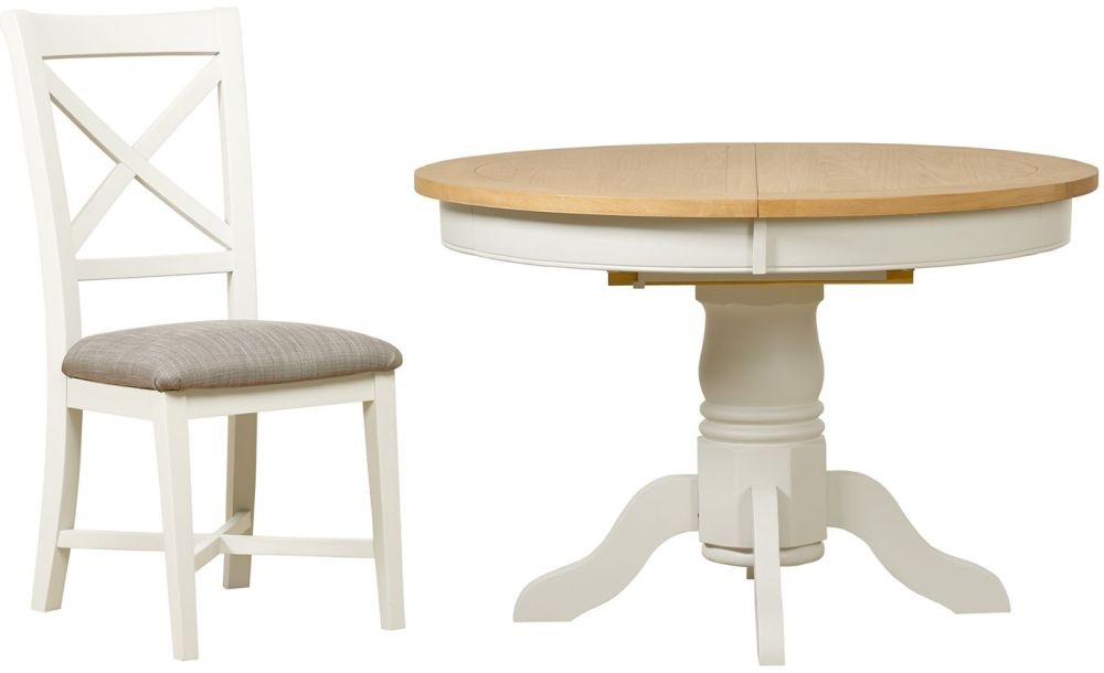 Mark Webster Hemmingway Round Extending Dining Table and 4 Chairs - Oak and Off White