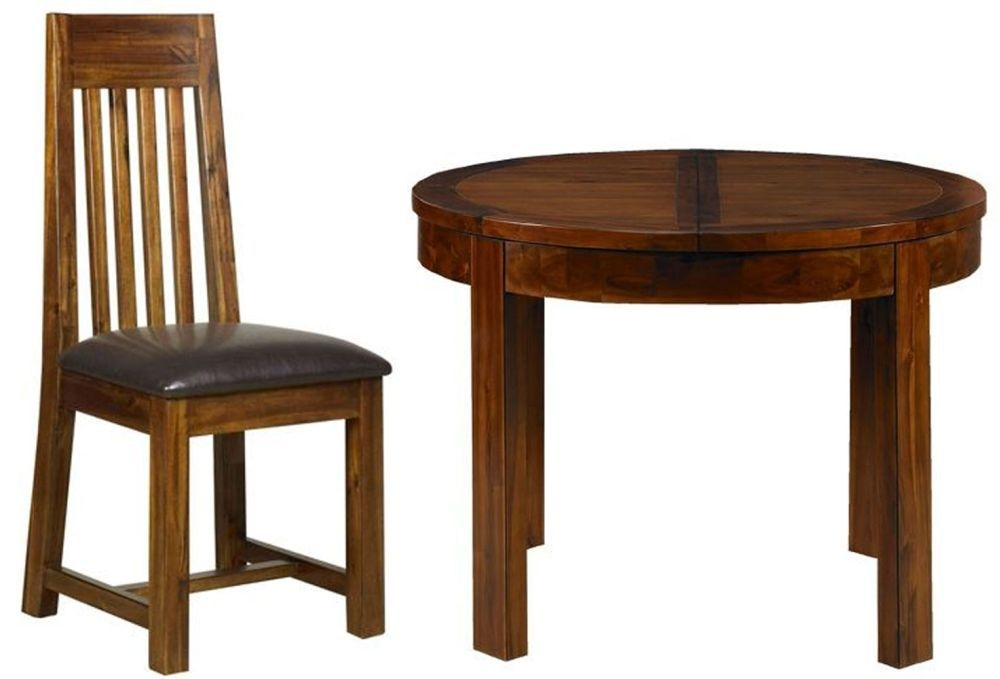 Mark Webster Kember Acacia Dining Set - Round Extending with 4 Chairs