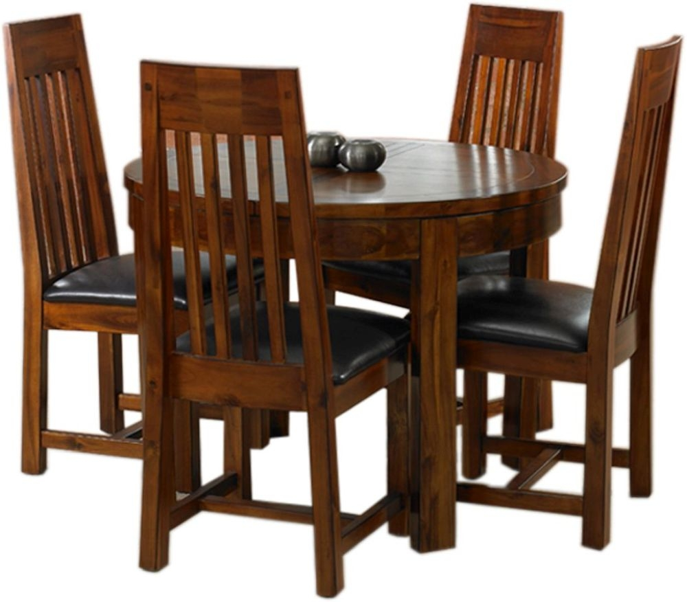 Mark Webster Kember Solid Acacia Round Extending Dining Table and 4 Chairs