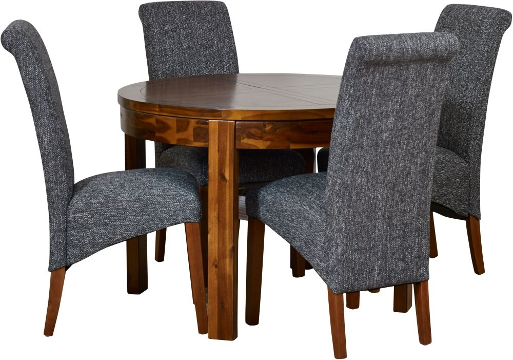 Mark Webster Kember Solid Acacia Round Extending Dining Table and 4 Darcy Chairs