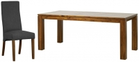 Mark Webster Kyoto Acacia Rectangular Extending Dining Set with 6 Steel Fabric Chairs - 140cm-190cm
