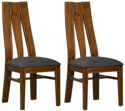 Mark Webster Kyoto Acacia Dining Chair with Steel Fabric Seat pad (Pair)