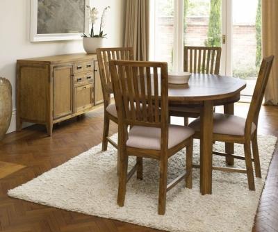 Mark Webster Lambourne Round Dining Set - Extending with 4 Slatted Back Chairs with Cream Fabric Seat Pad