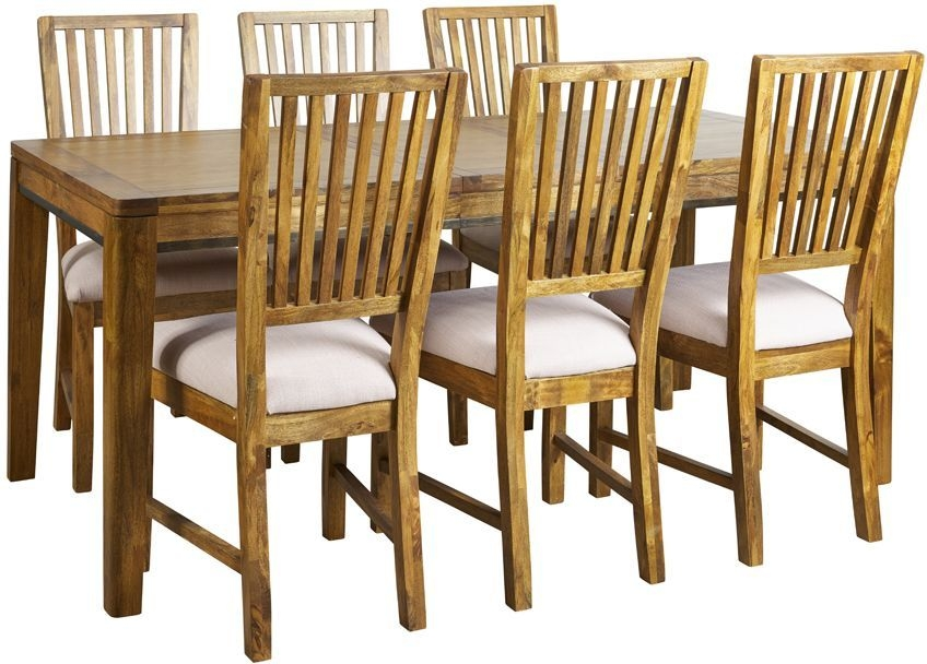 Mark Webster Lambourne Dining Set - Extending with 4 Slatted Back Chairs with Cream Fabric Seat Pad