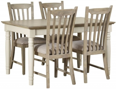 Mark Webster Lily Extending Dining Table and 4 Slatted Chairs - Grey Cashew