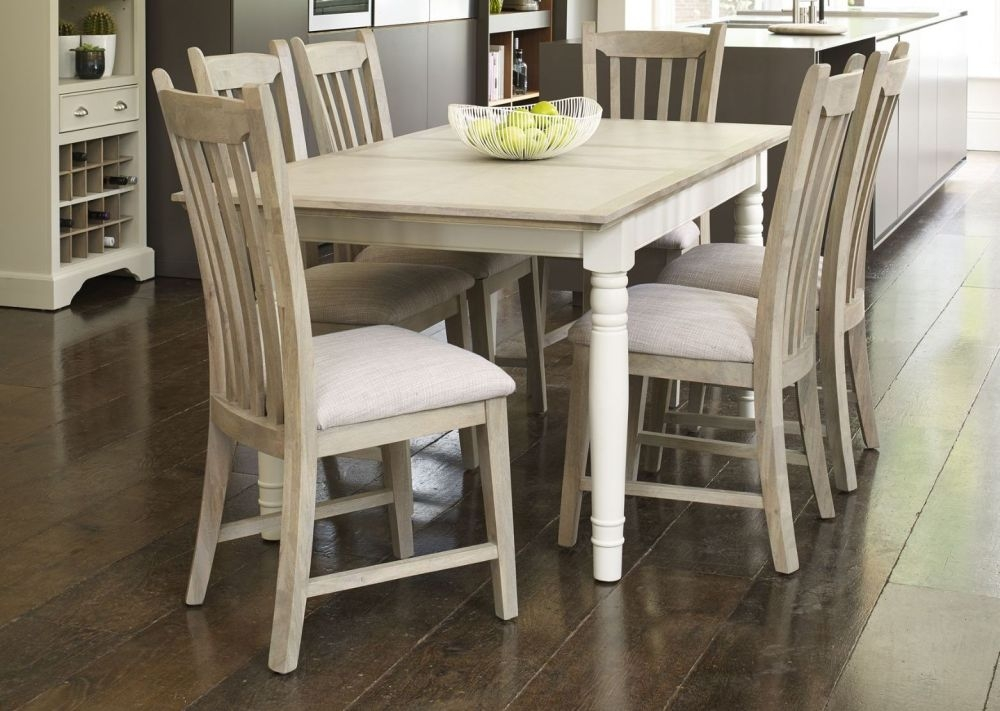 Mark Webster Lily Painted Dining Set - Extending Table with 4 Slatted Back Chairs with Linen Seat Pa