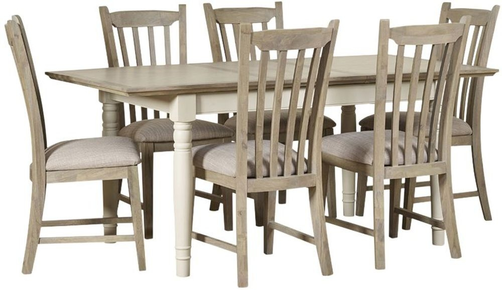 Mark Webster Lily Extending Dining Table and 6 Slatted Chairs - Grey Cashew