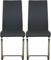 Mark Webster Milano Grey Faux Leather Dining Chair (Pair)