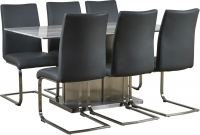 Mark Webster Milano Marble Top Rectangular Dining Set with 6 Grey Faux Leather Chairs - 160cm