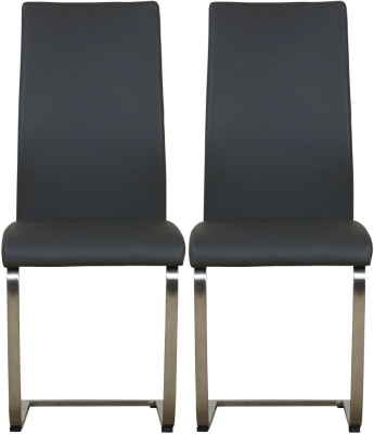 Mark Webster Milano Grey Faux Leather Dining Chair with Brushed Steel Legs (Pair)