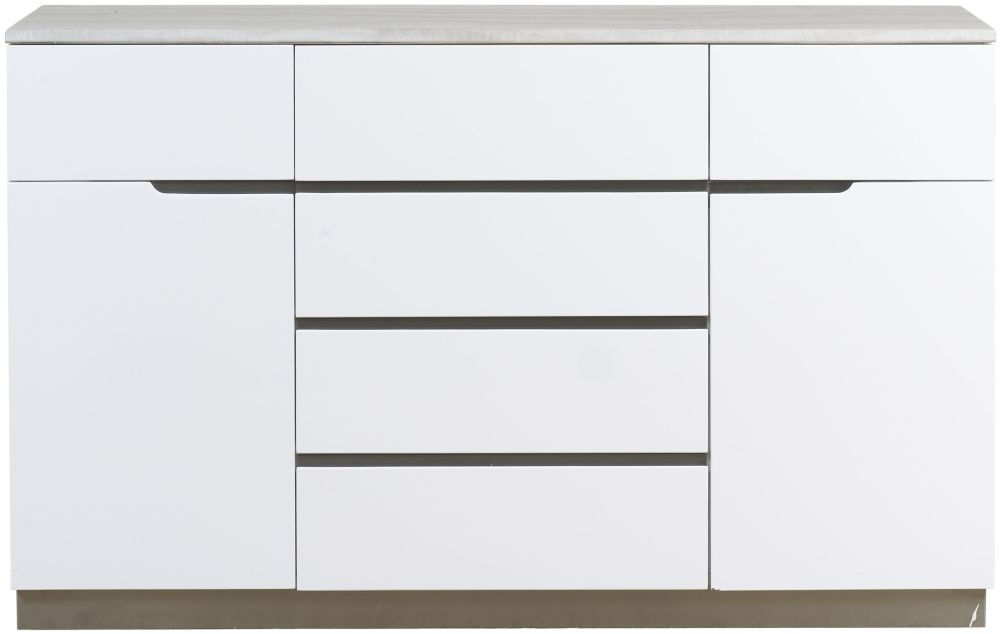 Mark Webster Milano Marble Top 2 Door 6 Drawer Wide Sideboard