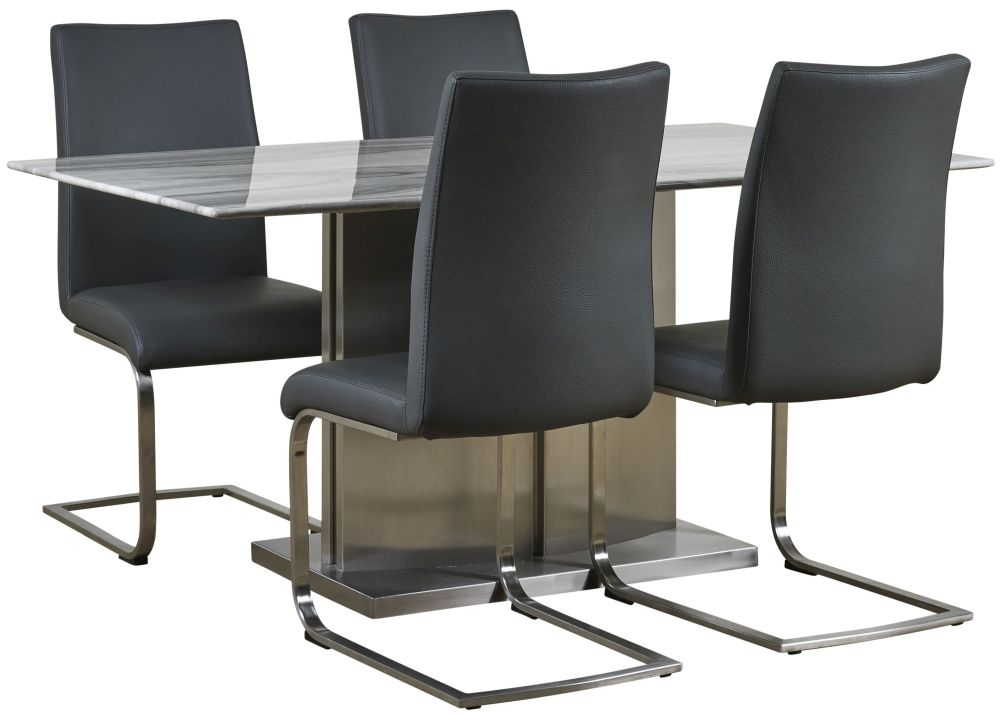 Mark Webster Milano Marble Top Dining Table and 4 Grey Faux Leather Chairs